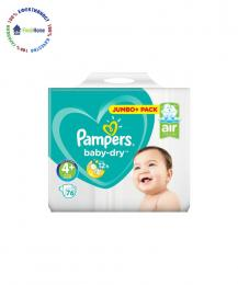 pampersi pampers baby-dry 4+ jumbo pack 76 broya